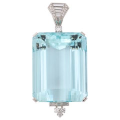David Webb 250 Carat Aquamarine Diamond Platinum Pendant
