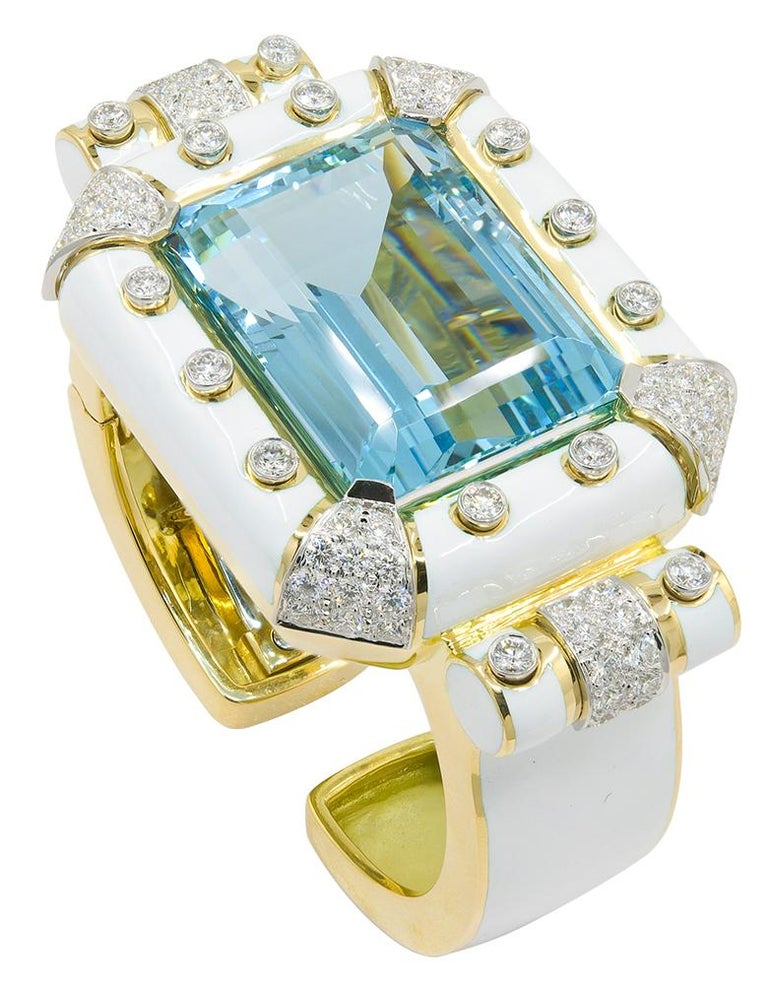 Emerald Cut David Webb Aquamarine, Diamond White Enamel Bracelet For Sale