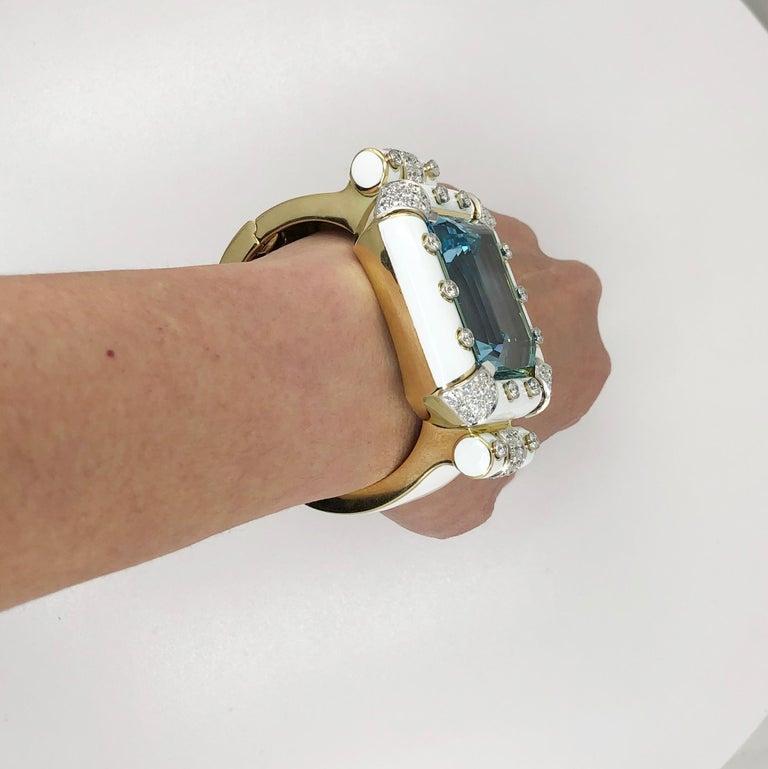 Women's David Webb Aquamarine, Diamond White Enamel Bracelet For Sale
