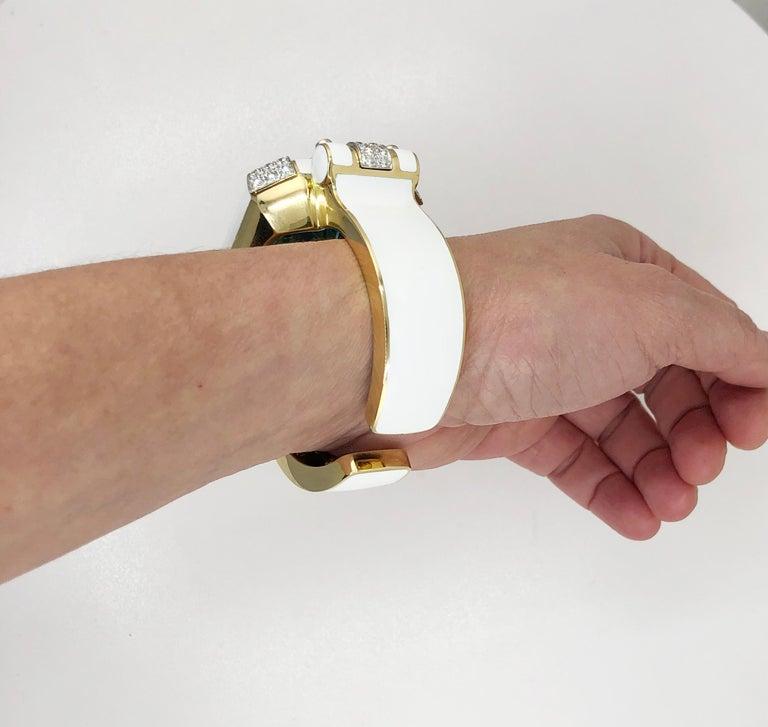 David Webb Aquamarine, Diamond White Enamel Bracelet For Sale 1
