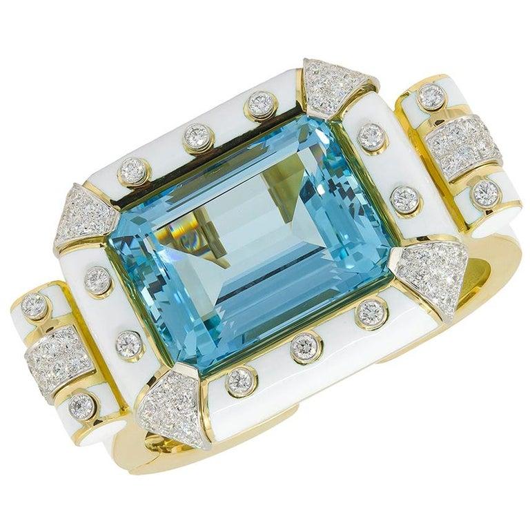 David Webb Aquamarine, Diamond White Enamel Bracelet For Sale