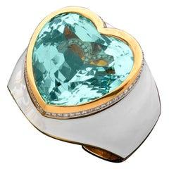 David Webb Aquamarine Heart, Enamel, and Diamond Cuff Bracelet