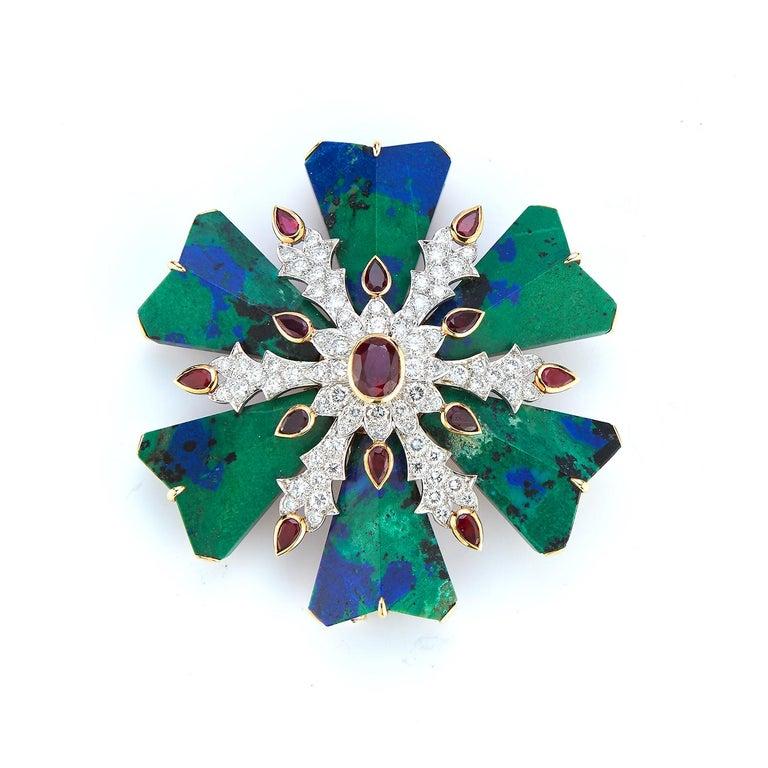 David Webb Azurmalachite Ruby And Diamond Maltese Cross Brooch  Rubies, Diamonds & green & blue malachite all set in 18 karat gold & platinum Measurements: 2.25