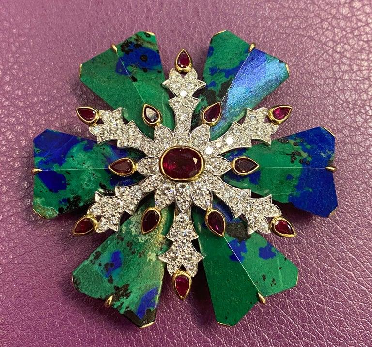 Round Cut David Webb Azurmalachite Ruby and Diamond Maltese Cross Brooch For Sale