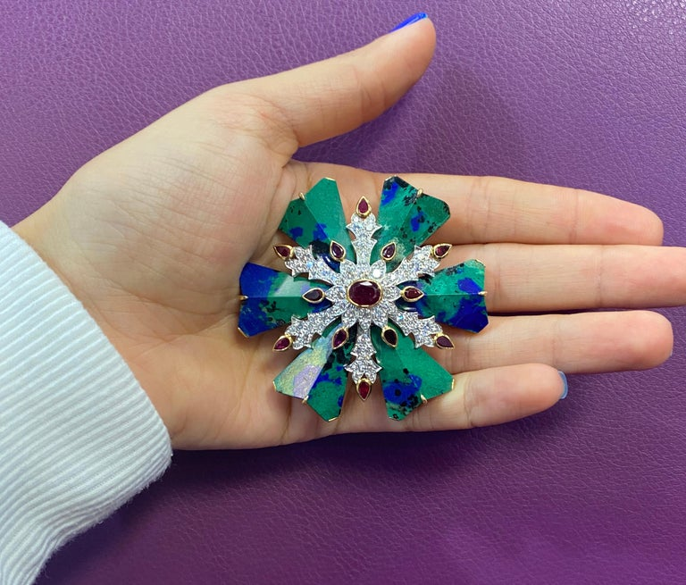 David Webb Azurmalachite Ruby and Diamond Maltese Cross Brooch In Excellent Condition For Sale In New York, NY