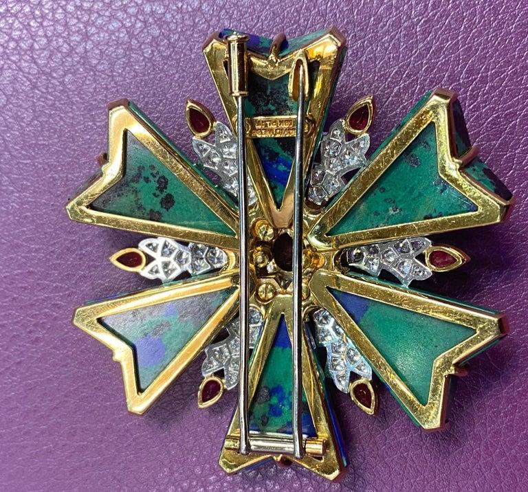 Women's or Men's David Webb Azurmalachite Ruby and Diamond Maltese Cross Brooch For Sale