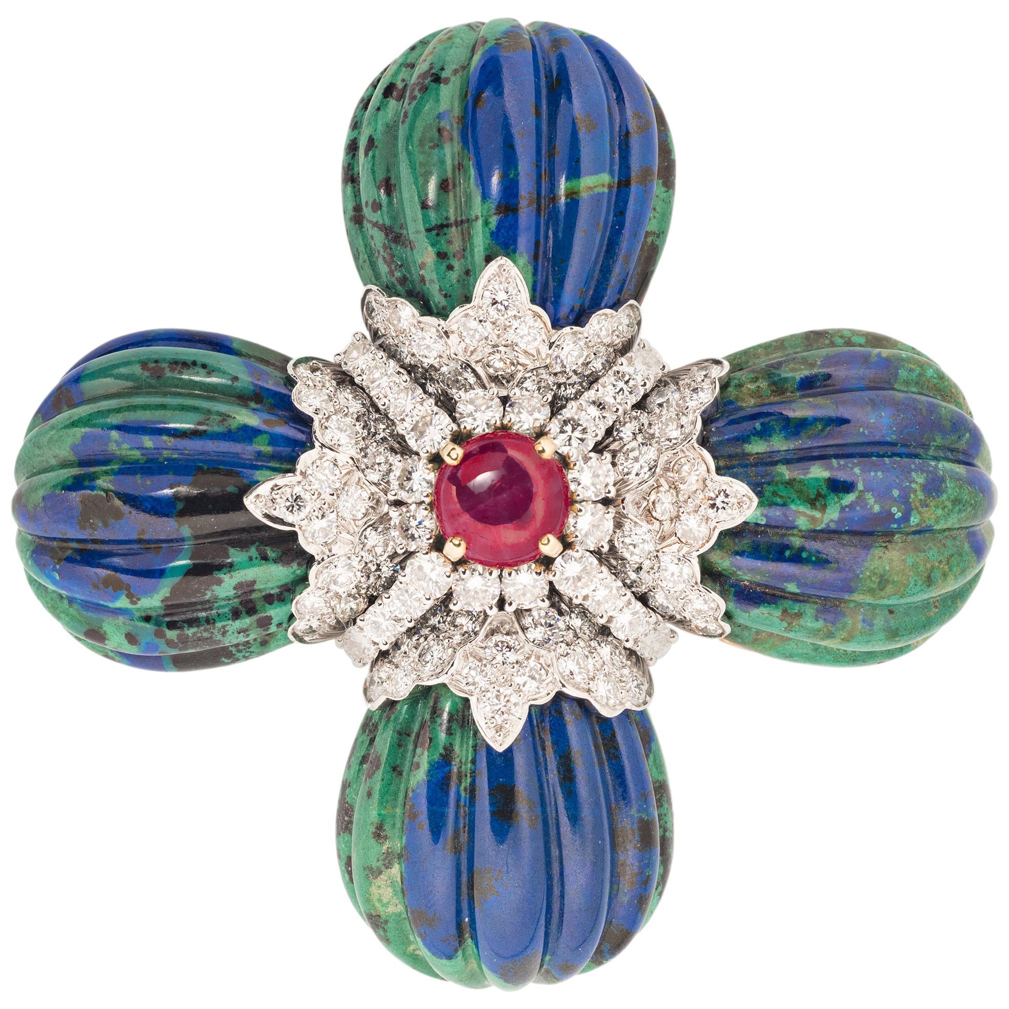 David Webb Azurmalachite, Ruby and Diamond Maltese Cross Brooch