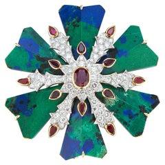 David Webb Azurmalachite Ruby and Diamond Maltese Cross Brooch