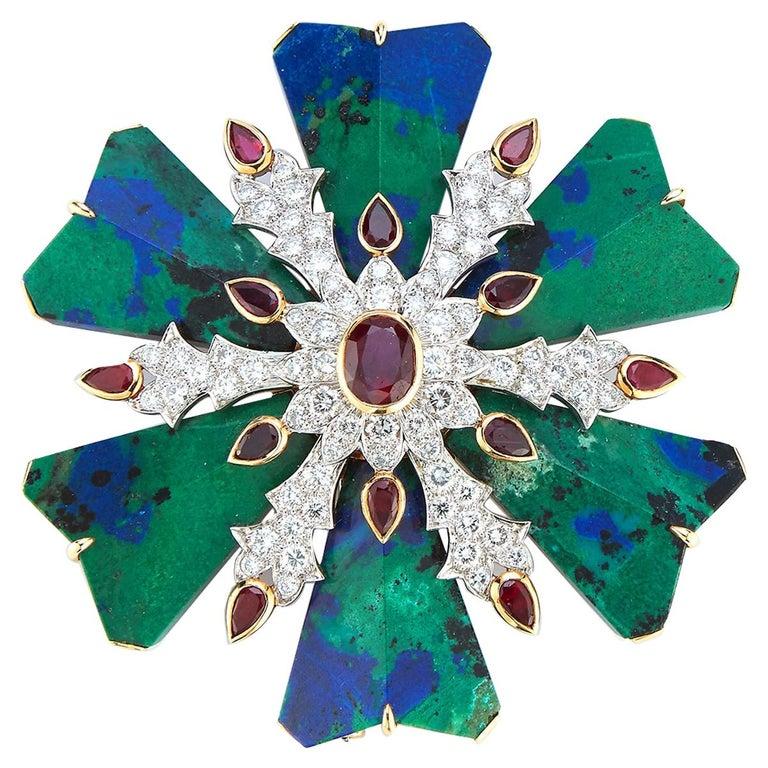 David Webb Azurmalachite Ruby and Diamond Maltese Cross Brooch For Sale