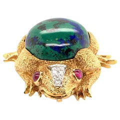 David Webb Azurmalachite, Ruby, Diamond and Gold Frog Brooch