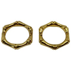 "David Webb ""Bamboo"" Cufflinks in 18 Karat Yellow Gold"