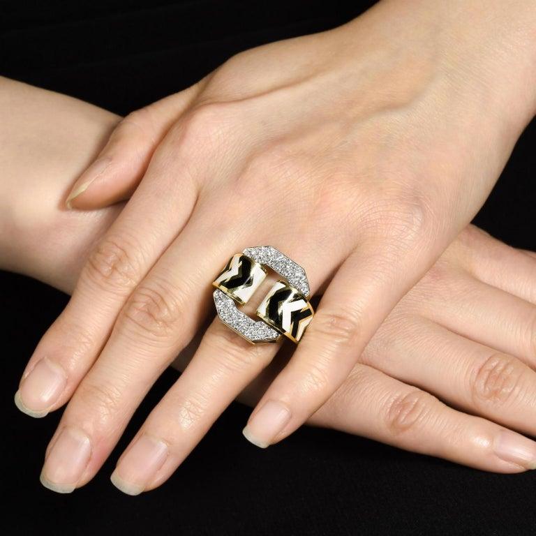 Modern David Webb Black and White Enamel Diamond Chevron Ring For Sale
