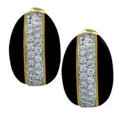 David Webb Black Enamel and Diamond Earrings