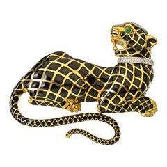 David Webb Black Enamel 18 Karat Gold Emerald Eyes Tiger Brooch