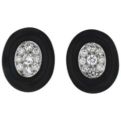David Webb Black Enamel and Diamond Clip Earrings