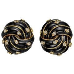 David Webb Black Enamel and Diamond Knot Earclips