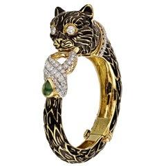David Webb Black Enamel Cat Head Cuff Bangle Bracelet