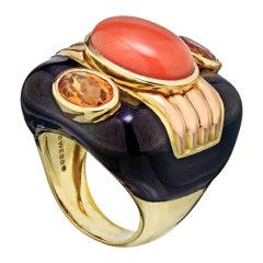 David Webb Black Enamel Coral and Yellow Gold Ring