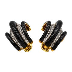 David Webb Black Enamel Diamond 18 Karat Gold Shrimp Huggie Clip-On Earrings