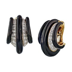 David Webb Black Enamel Diamond 18 Karat Gold Shrimp Huggie Clip-On Earrings