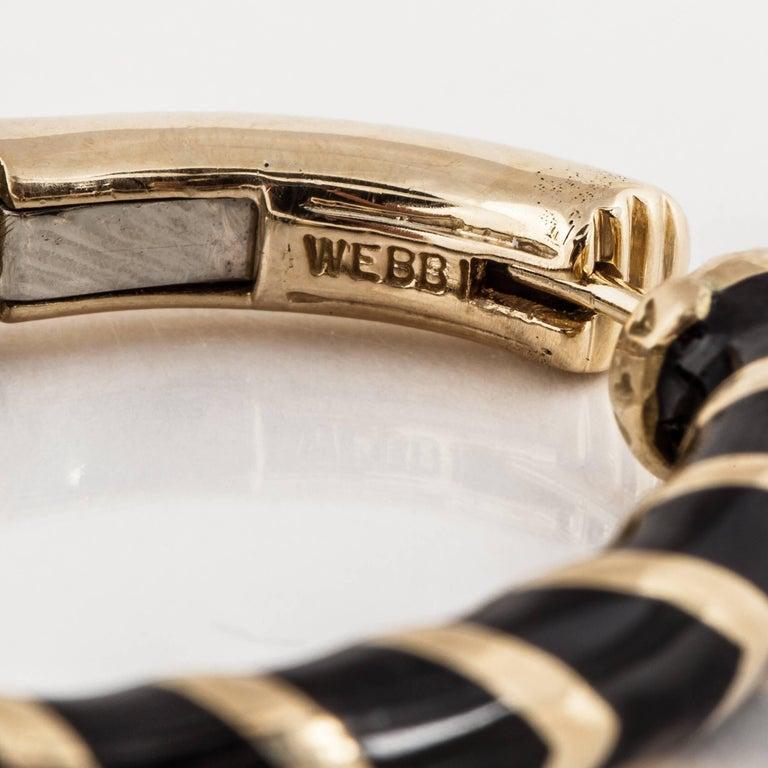 Women's David Webb Black Enamel Hoop Earrings
