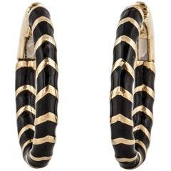 David Webb Black Enamel Hoop Earrings