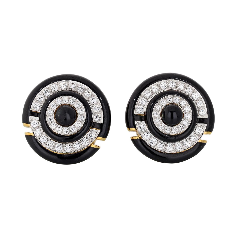David Webb Black Enamel Round Diamond Clip-On Earrings
