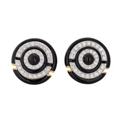 David Webb Black Enamel Round Diamond Clip-On Earrings