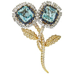 David Webb Blue Aquamarine Cabochon Sapphires Diamond Brooch Pin Also Earrings
