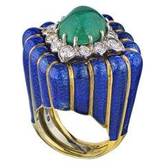 David Webb Blue Enamel and Green Cabochon Emerald Diamond Rhombus Ring