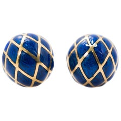 David Webb Blue Enamel Clip-On Earrings in 18 Karat Yellow Gold