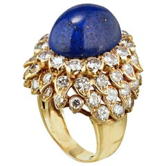 David Webb Blue Lapis and Diamond 18 Karat Gold Ring