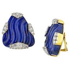 David Webb Blue Lapis Lazuli Diamond Clip-On in 18k Gold and Platinum Earrings