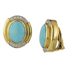David Webb Blue Turquoise Diamond Gold Platinum Oval Earrings