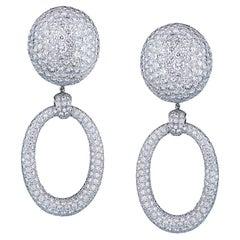 David Webb Bombe Platinum 56.84 Carats Hanging Door Knocker Earrings