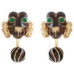 David Webb Brown and Green Enamel Ram's Head Cufflinks in 18k Yellow Gold