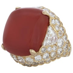 David Webb Cabochon Coral and Diamond Ring in 18 Karat Yellow Gold