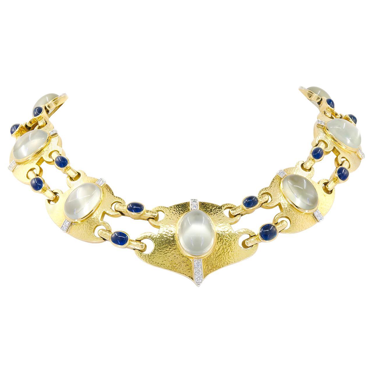 David Webb Cabochon Moonstone, Sapphire Diamond Necklace