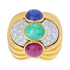 David Webb Cabochon Sapphire, Emerald and Ruby Ring