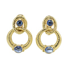 David Webb Cabochon Sapphires 18k Yellow Gold Door Knocker Earrings