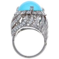 David Webb Cabochon Turquoise Diamond Ring