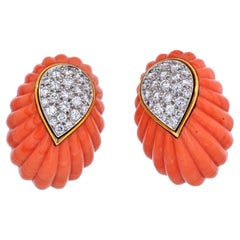 David Webb Carved Coral and Diamond Clip Earrings