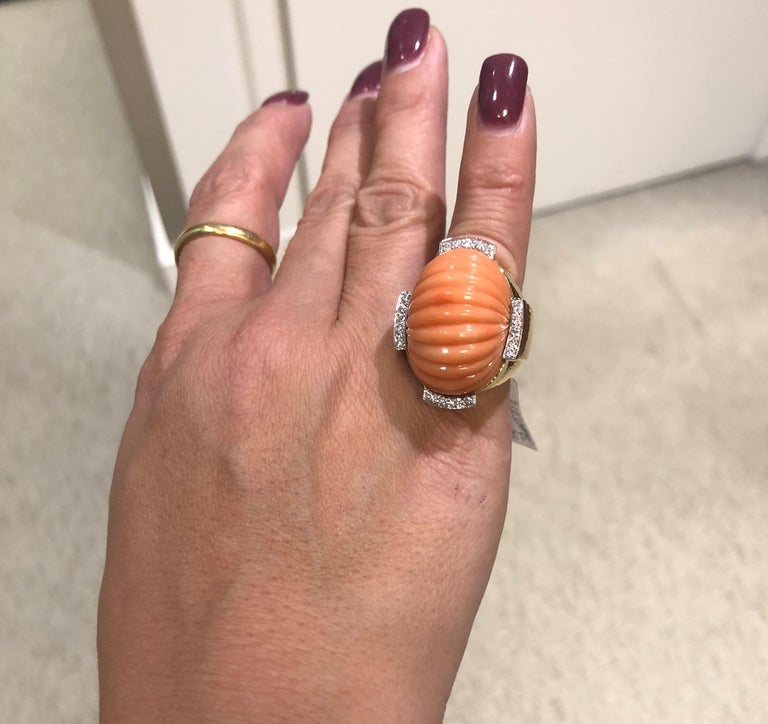 David Webb Carved Coral and Diamond Yellow Gold Ring For Sale 6