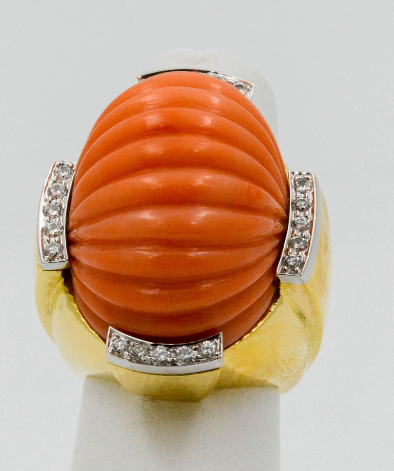 Round Cut David Webb Carved Coral and Diamond Yellow Gold Ring For Sale