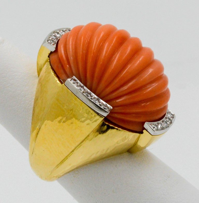 David Webb Carved Coral and Diamond Yellow Gold Ring In Good Condition For Sale In Dallas, TX