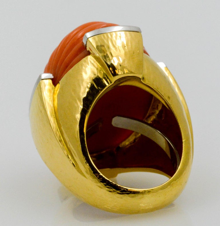 David Webb Carved Coral and Diamond Yellow Gold Ring For Sale 2