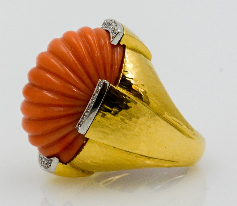 David Webb Carved Coral and Diamond Yellow Gold Ring For Sale 3