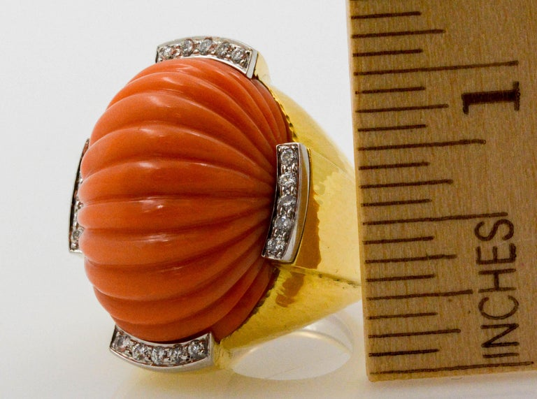 David Webb Carved Coral and Diamond Yellow Gold Ring For Sale 4