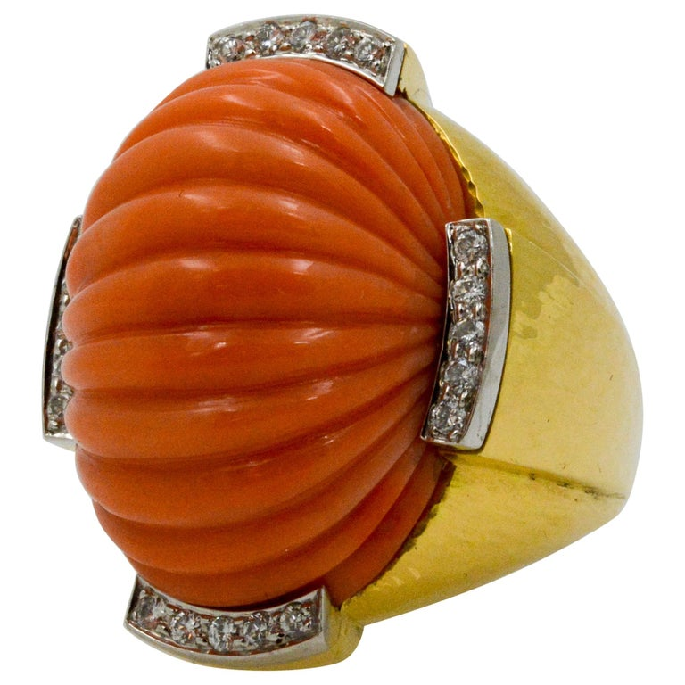 David Webb Carved Coral and Diamond Yellow Gold Ring For Sale