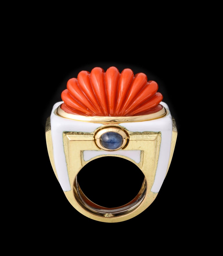 Women's or Men's David Webb Carved Coral Cocktail Ring For Sale